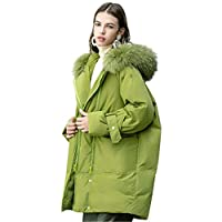 Winter Verdikte Ladies Down Jacket Jacket, Grote bontkraag Hooded warme lange Down Jacket Loose Brood Jasje Vrouwen Loose Down Jacket,Green,M