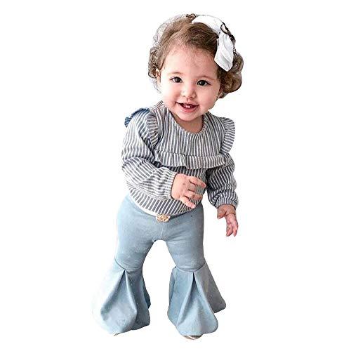 Vêtements Fille,Enfant En Bas âge Bébé Fille T-shirts Rayés + Pantalons évasés 2PCS Vêtements Set (6-12 mois, Gris)