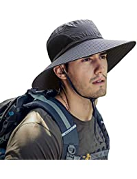 b6e0a4ba933 Mens Sun Hat Summer Unisex Sun UV Protection Bucket Hat Outdoor Waterproof  Wide Brim Hat with