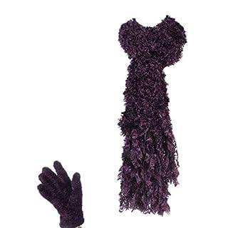 1 no. Jennifer Anderton Ladies Winter Warm Luxury Feather Cosy Soft Scarf & Gloves Set - Red Wine