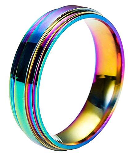 YABEINI Schmuck 316L Edelstahl Ring Regenbogen Farben für die Unisex LGBT Stolz