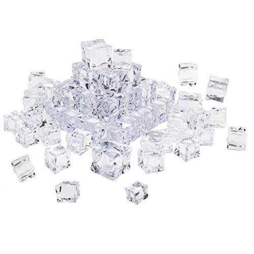VORCOOL 50 STÜCKE Cube Quadratische Form Glas Glanz Eiswürfel Gefälschte Künstliche Acryl Eiswürfel Kristall Klar Fotografie Requisiten Küche Decor-20mm