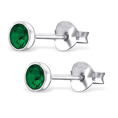 Bungsa Grüne Kristall Ohrstecker .925 STERLING SILVER 3mm rund (Ohrringe Echtschmuck Studs Ohrschmuck Damen Frauen Herren) (Ohrringe Grüne Männer)