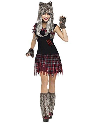 Süsser Werwolf Halloween Damenkostüm grau-rot S / (Kostüme Werwolf Sexy)