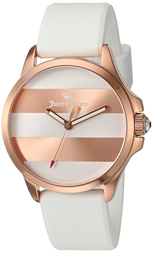 Juicy Couture Women's Jetsetter Quartz Gold and Silicone Automatic Watch, Color:White (Model: 1901346)