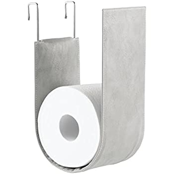 MDesign Wall Mounted Toilet Roll Holder   No Drilling Necessary   Toilet  Roll Storage For Attachment