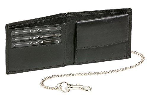 LEAS Portemonnaie portefeuille pour femme et homme très minces avec la chaîne chrome, cuir véritable, noir Chain-Series''