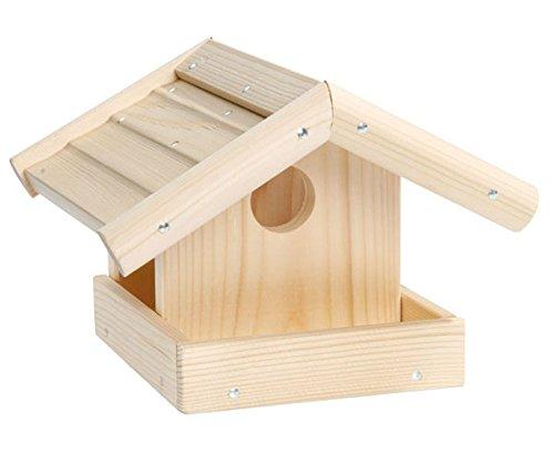 Betzold Vogelhaus Bausatz, Bastelset aus Fichtenholzteilen, Holz gefräst und vorgebohrt, ca. 25 x 19 x 18,5 cm, zum Selbstgestalten - Garten Herbst Vögel füttern