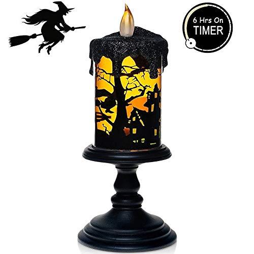 SCB Halloween Schneekugel Kerzen beleuchtete Lampe, batteriebetriebenes Spinnen glitzernde flammenlose Kerzen Tischmittel Samhain Celebration, Bat,Black