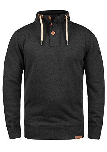 !Solid TripTroyer Herren Sweatshirt Pullover Troyer Pulli Mit Stehkragen Und Knopfverschluss, Größe:L, Farbe:Dark Grey Melange (8288) -