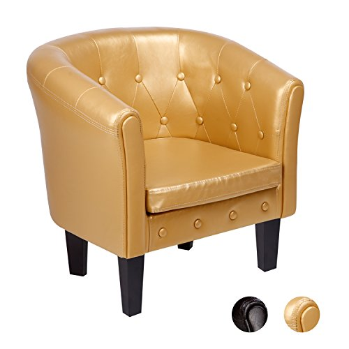 CCLIFE Chesterfield Sessel Loungesessel Clubsessel Cocktailsessel Kunstleder Farbe Braun/Gold, Farbe:Gold
