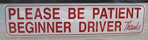 Preisvergleich Produktbild Zone Tech Automotive rot auf sie Geduld weiß Anfänger Treiber durch Magnet–Safety Sign Caution