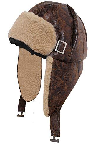 Hut Und Aviator Kostüm Brille - Erwachsene braun 1940er Aviator Hat 2. Weltkrieg Pilot Fancy Kleid Cap Distressed Leder Look