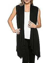 Vococal® Femme Couleur Unie Sans Manches Ourlet Asymétrique Ouvert Avant Cardigan Tricot Blouse (Taille Asiatique)