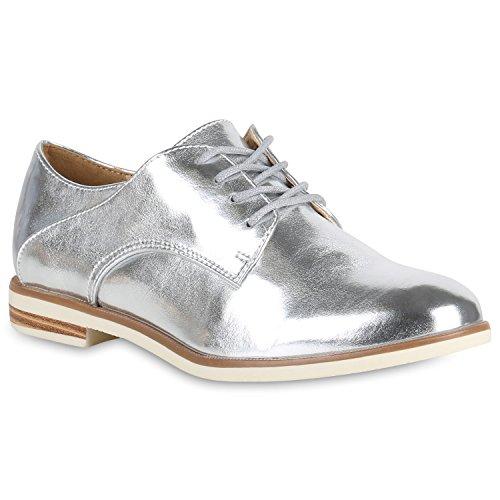 Damen Metallic Halbschuhe Klassische Schnürer Freizeit Schuhe 147802 Silber Metallic 39 | Flandell®