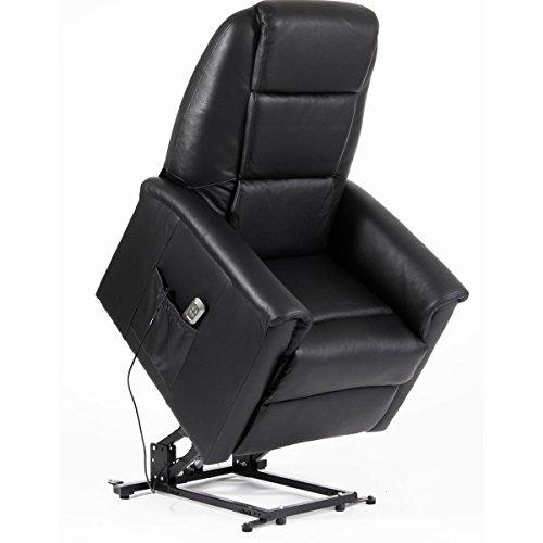 Sessel mit Aufstehhilfe DORTMUND, 2 Motoren. Bezug aus Leder in der Farbe Schwarz.