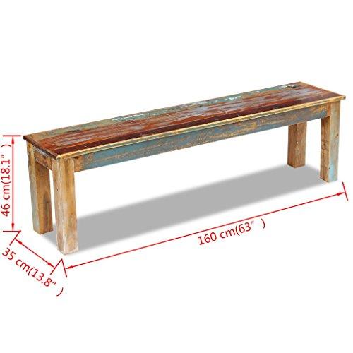 Festnight Retro-Stil Holzbank Sitzbank Ruhebank aus Recyceltes Massivholz Multifunktional Massivholzbank 160 x 35 x 46 cm - 5