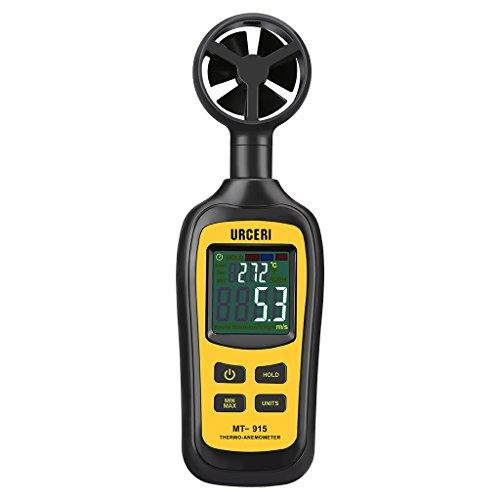 URCERI Anemometer Digital Windmesser 0.4m/s bis 30m/s Handheld Windgeschwindigkeitsmesser Thermometer -20°C bis 70°C Windmessgerät mit Min/Max-Daten, Batterieanzeige, Schalter und LCD Bildschirm