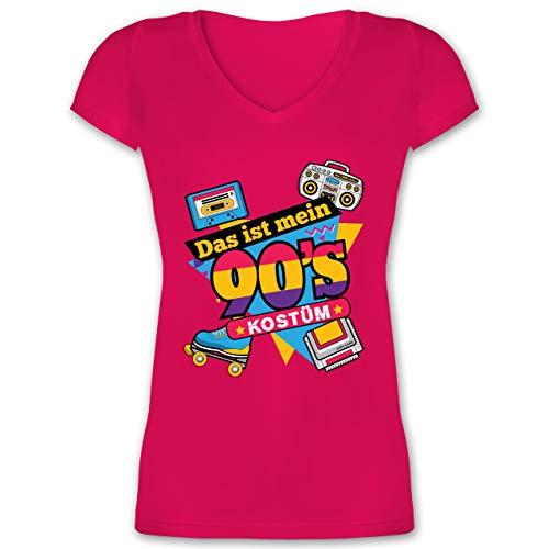 Karneval & Fasching - Das ist Mein 90er Jahre Kostüm - L - Fuchsia - XO1525 - Damen T-Shirt mit V-Ausschnitt