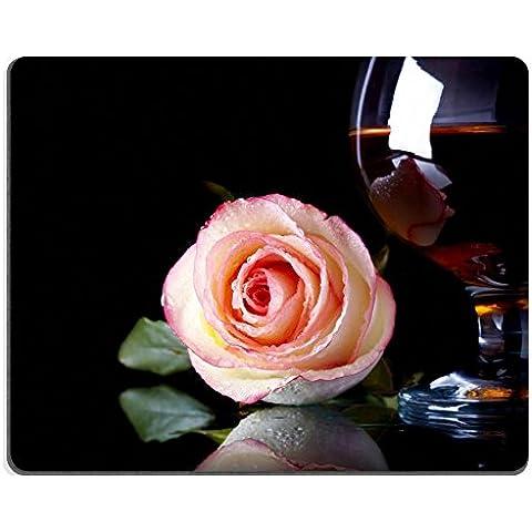 In gomma naturale, gioco Luxlady Mousepads vetro rosa e motivo floreale con alcol Bere un'immagine ID 25114865, colore: rosa