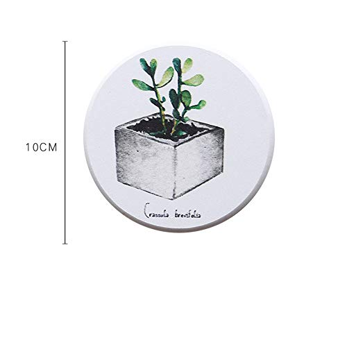 ZCHPDD Round Diatomaceous Earth Coaster Non-Slip Water-Absorbing Mildew Hand-Washing Table Creative Pattern Coasters Potted Plant 1 10 * 10Cm*0.9Cm*4Pcs