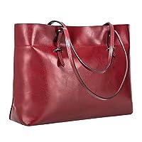 حقيبة يد للنساء من S-ZONE من الجلد الأصلي بطراز عتيق حقيبة كتف حقيبة يد نسخة محسنة (نبيذ)