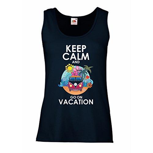 Damen Tank-Top Gehen Sie auf Urlaub, nette Outfits, Strandkleidung, Resortabnutzung (Small Blau Mehrfarben)