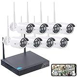 VisorTech Überwachungskamera Set: Funk-Überwachungssystem, HDD-Recorder & 8 IP-Kameras, Plug & Play, App (Kamera Set)