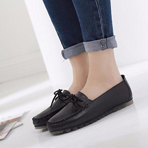 Moonwalker Chaussures Femme à Lacets en Cuir Derbies Mocassins Noir