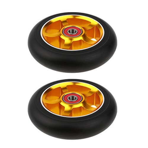 Unbekannt MagiDeal 2 pcs Professionelle 100mm Scooter Ersatz Rollen Scooter Wheels Räder Set - Gold