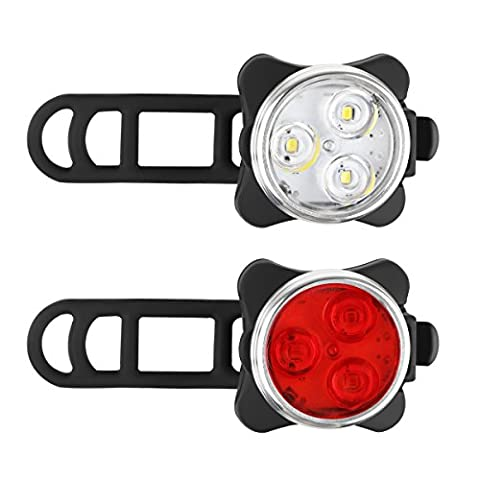 A0ZBZ Wiederaufladbare LED-Fahrradlicht-Set, Radfahren Scheinwerfer Kombinationen, Rücklicht Fahrrad Vorne Und Hinten Licht Set, 5 Leuchtmodi, 2 USB-Kabel, 1200 mAh Lithium-Akku, Rubber (Torch Light 2)