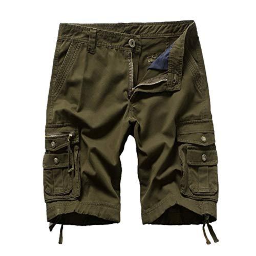 Xmiral Shorts Herren Reißverschluss Overall Streifen Kurze Hose Mit Taschen Sports Hose Training Shorts Fitness Beachshorts(Grün,XXL)