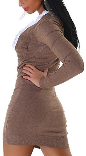 Jela London Damen Strickkleid mit eingenähtem Bluseneinsatz Einheitsgröße (34-38) Braun