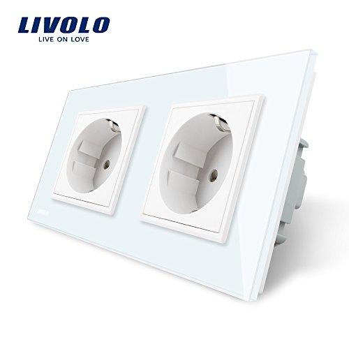 LIVOLO Weiss 2 Fach Schuko Steckdose Schutzkontakt mit Kindersicherung Panel aus Kristallglas EU Standard 2 Fach Wandsteckdose,VL-C7C2EU-11-A