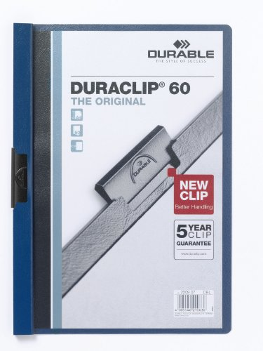 Durable 223807 Klemm-Mappe Duraclip Original 60 (Hartfolie, bis 60 Blatt A4) Beutel à) 5 Stück dunkelblau