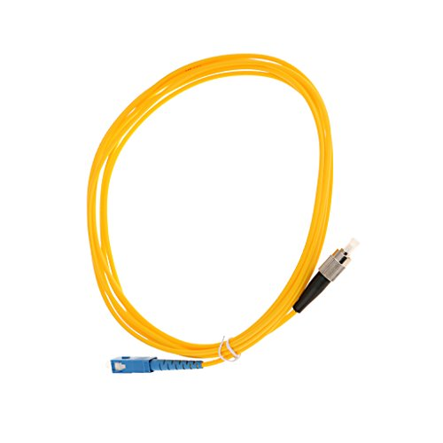 MagiDeal SC Zu FC Singlemode Single Core Faser Optische Patchkabel Simplex Fiber Jumper Glasfaserleiter LWL-Kabel Lichtwellenleiter - Gelb 3 Meter -