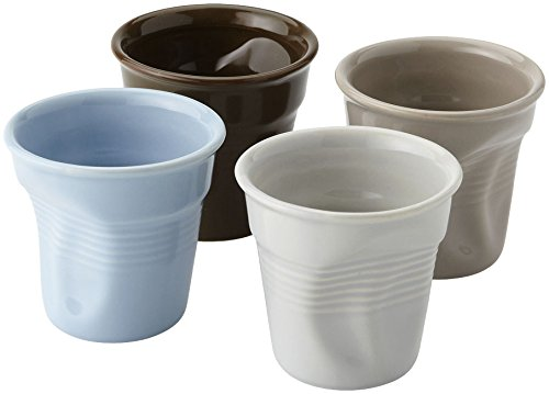 BARBACADO 4 Tasses Expresso 8cl céramique, Service Tasses Espresso,Tasse à café, Style gobelet froissé