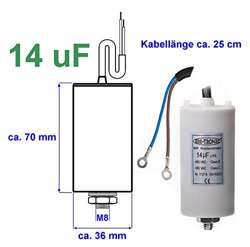 Preisvergleich Produktbild Kondensator Anlaufkondensator Motorkondensator Arbeitskondensator Kabel 14µF 450V