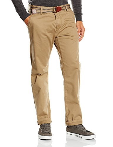 TOM TAILOR Herren Chino Hose with belt/508 Beige (honey camel beige 8206)