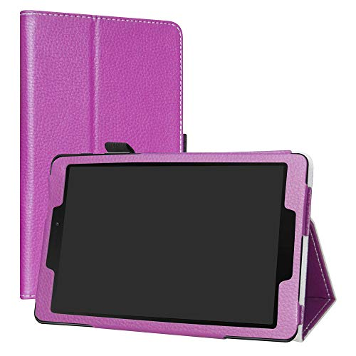 "LiuShan Galaxy Tab A 8.0 P200 Coque, Slim PU Cuir Etui et Pliable Stand Folio Housse Coque Couverture pour 8.0"" Samsung Galaxy Tab A 8.0 SM-P200 / P205 2019 Android Tablet,Violet"