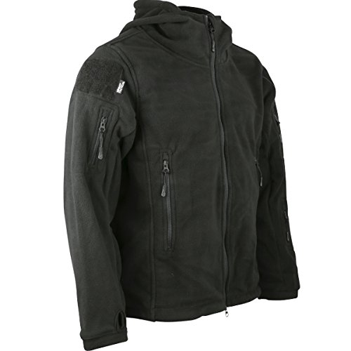 Kombat uk felpa con cappuccio in pile recon tattico, da uomo, uomo, recon tactical, nero, m