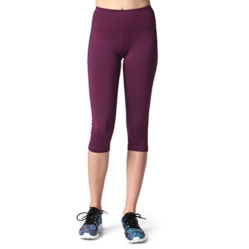 Lapasa Damen 3/4 Sport Leggings – blickdicht, dehnbar und luftig, 3/4 Yoga Sporthose, Damen kurz Training Tights, L002, Weinrot, S