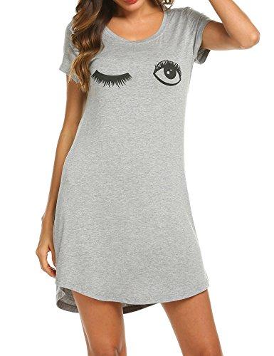 MAXMODA Donna Camicia da Notte Comodo Casual Semplice Pigiami Camici Vestaglia Camicia da Notte Manica Corta Scollo U Elegante Grigio M