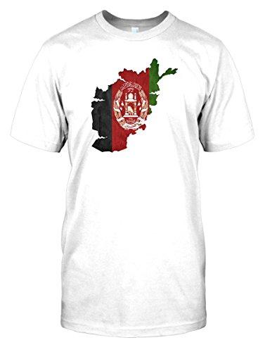 Mens t-shirt DTG Print - Afghanistan Afghani Flag Map - World - White - Mens 34-36