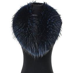 Cuello de Piel de Mapache Real, Elegante Y Desmontable, Ideal para Sus Trajes en Invierno - Mujer - Azul marino - Longitud: 80 cm