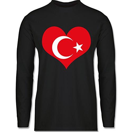 Shirtracer Länder - Türkei Herz - Herren Langarmshirt Schwarz