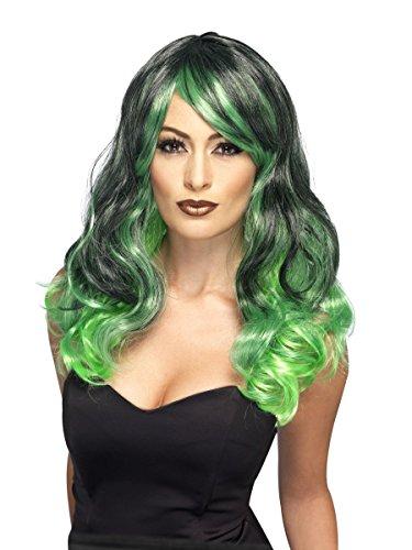 Smiffys Perücke Zweifarbig grün-schwarz Hexe Karneval Fasching Halloween