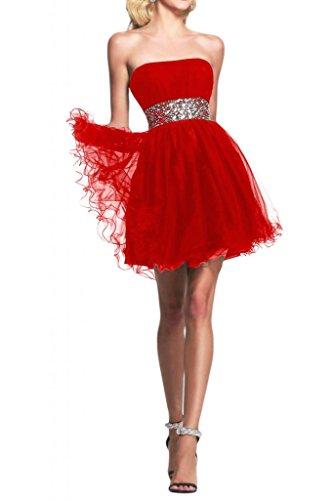 Toscane mariée sweetheart traegerlos abendkleider court tuell les demoiselles d'honneur party robe de cocktail Rouge - Rouge