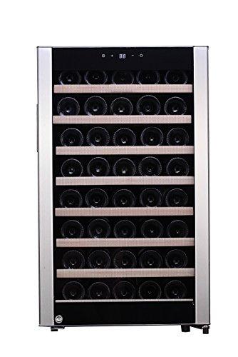 Kalamera KRC-52SZF Ein Temperaturzone weinkühlschrank Weinflaschen Kühlschrank für bis zu 52 Flaschen Temperaturzonen 5-18°C,120 Liter, LED Bedienoberfläche Edelstah