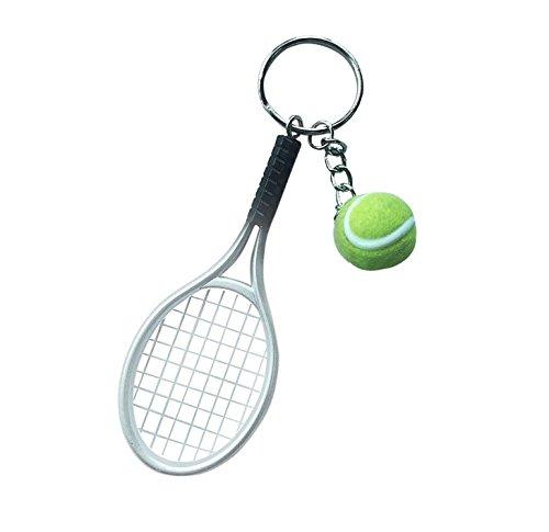 Preisvergleich Produktbild Tennisschläger Schlüsselanhänger mit Ball Schläger Tennis in grau
